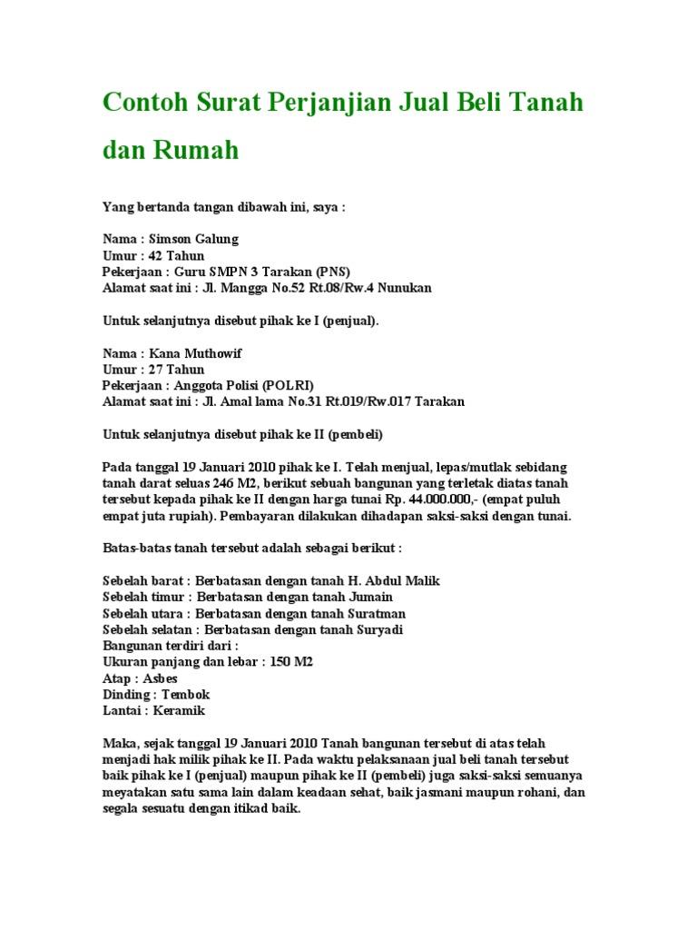 44515309 Contoh Surat Perjanjian Jual Beli Tanah Dan Rumah