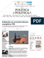 14-12-13 Población no revertirá reforma energética