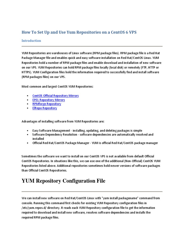 Set Up Yum Repositories on a CentOS 6 | Software Repository | File