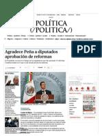 14-12-13 Agradece Peña a diputados aprobación de reformas
