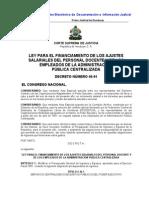 Ley Para El Financiamiento de Los Ajustes Salariales Del Personal Docente (Actualizada-07)