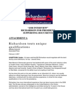 bill richardson 2008 - job interview background documents