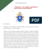 Mensaje Del Papa a Seminaristas y Novicias