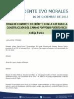 Discurso Del Presidente Morales en La Firma de Contrato Con La Caf Porvenir-puerto Rico 16-12-13