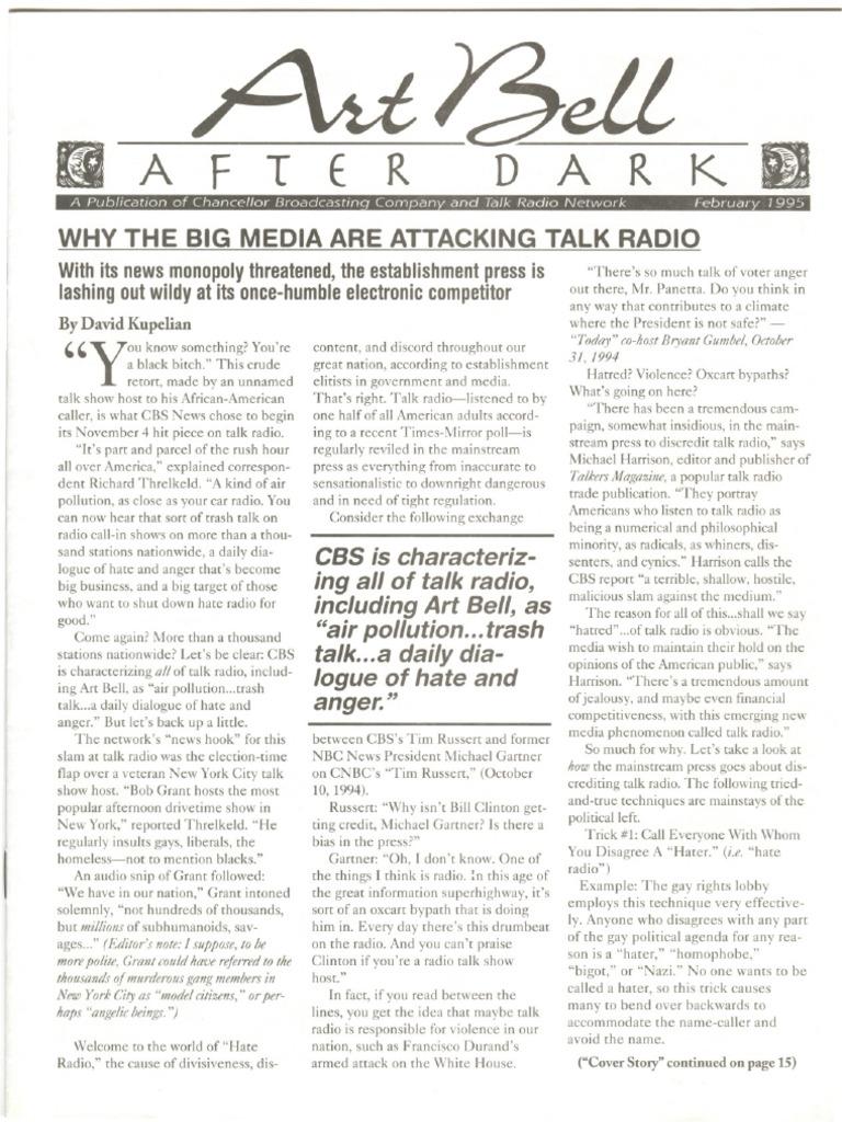 Coast to Coast Am - Afterdark Newsletter - 1995-02