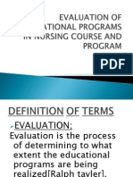 Evaluation of Educational Programs in Nursing Course And