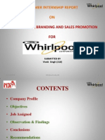 SUMMER INTERNSHIP REPORT  ON PRICE MAPPING, BRANDING AND SALES PROMOTION FOR whirlpool India ltd