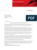 2013 NSWCCL Letter - CSG protestors case - Police Commissioner