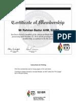 American Radio Relay League (ARRL )Membership Certificate for AHM Bazlur Rahman- S21BR