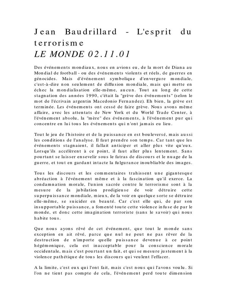 Jean Terrorisme Baudrillard L'esprit Du Du Jean Terrorisme L'esprit Baudrillard ZZwBqvf