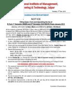 Exam Form Filling Notice of I Sem Main (2013-17) & III Sem Old Back (2008-12) Exam 2013-14