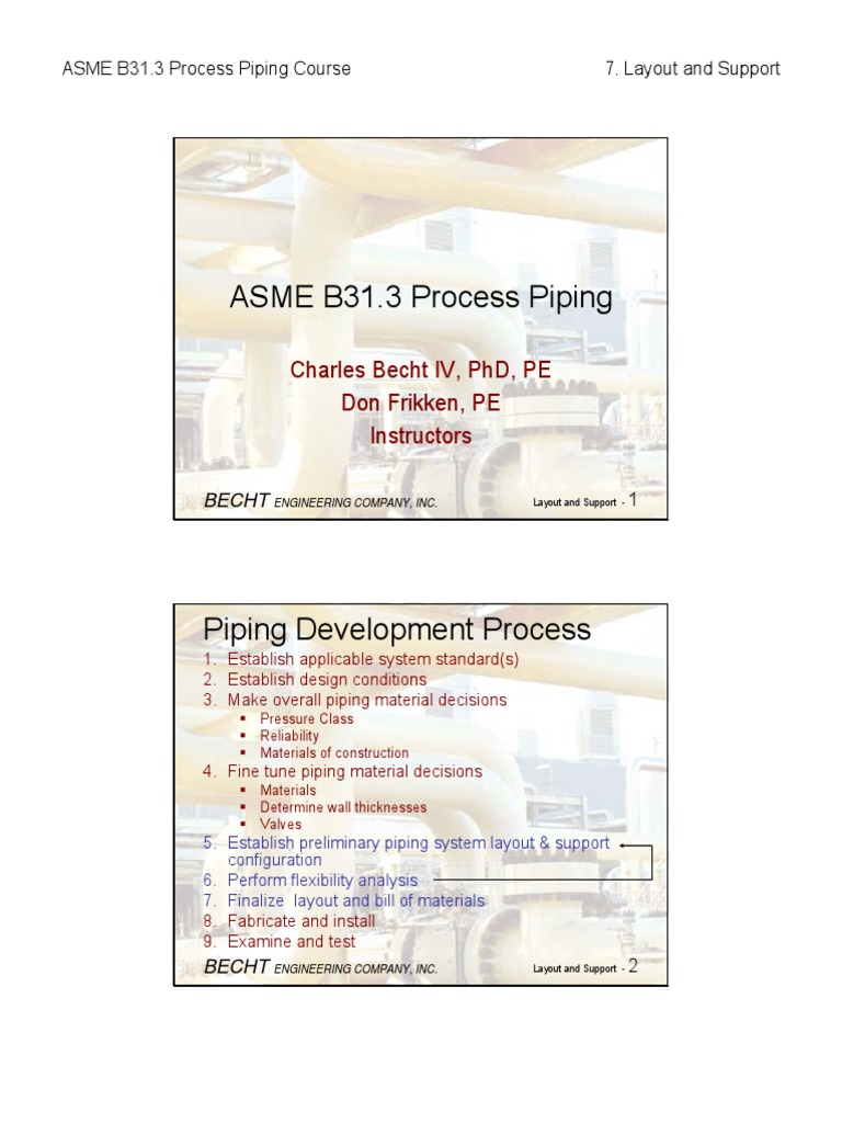 B31.3 Process Piping Course - 07 Layout and Support | Pipe (Fluid  Conveyance) | Applied And Interdisciplinary Physics