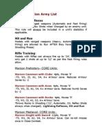 Maroon Nation Army List (Army Men PAZCIK)