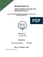 Ratio Analysis of Lane Toy-Assin. 1