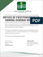 INTER Notice of Postponement of Annual General