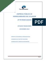 Estados Financieros y Notas Diciembre 2012