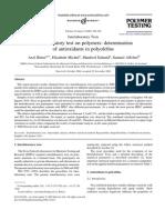 Interlab test on polymers determination of antioxidants in polyolefins
