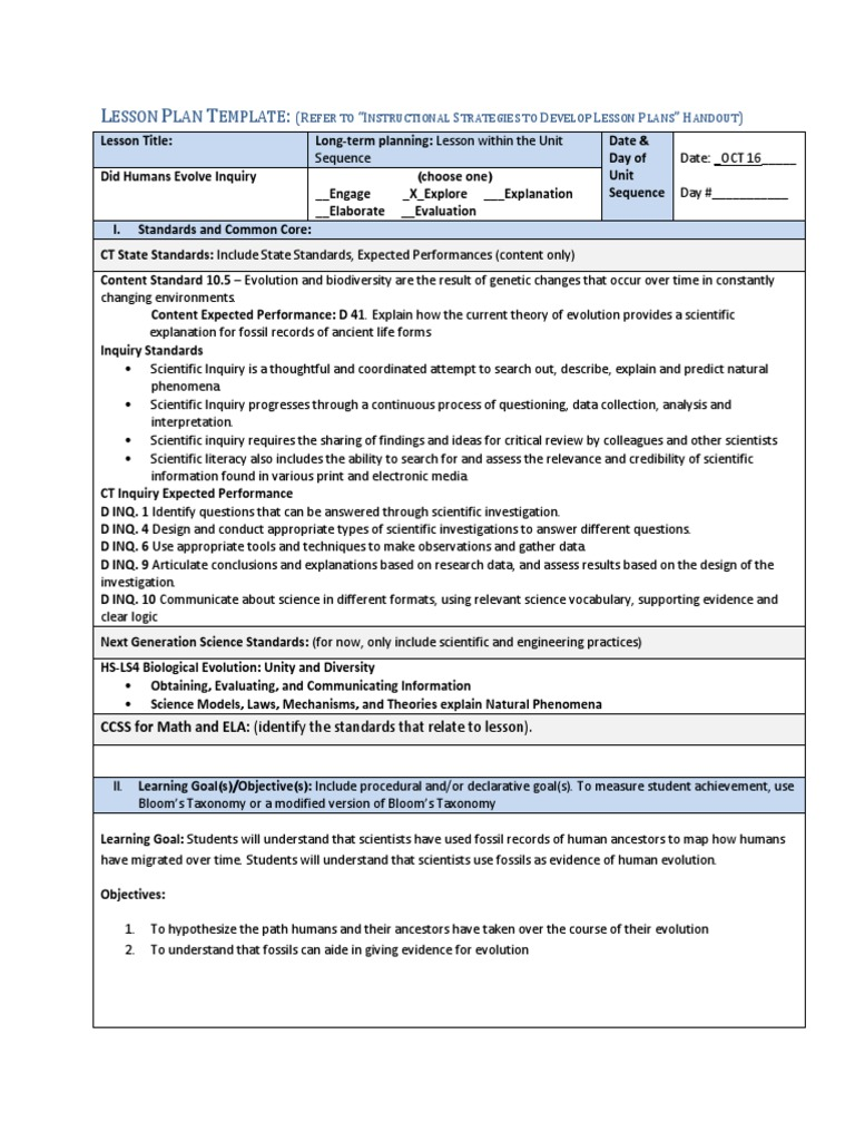 Did Humans Evolve Lesson Plan Inquiry Scientific Method - Bloom taxonomy lesson plan template