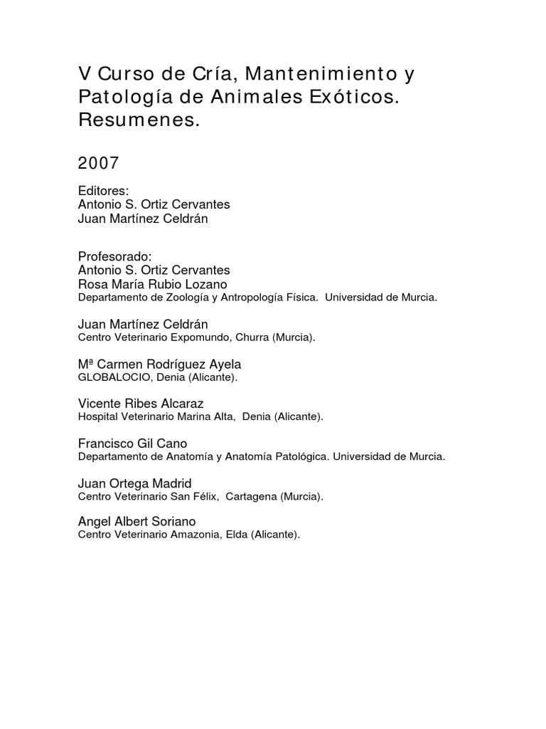2007-V Curso de cria, mantenimiento y patología de animales exóticos
