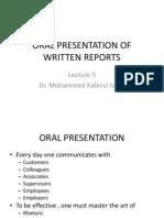 Lecture 5 OralPresentation WrittenReports