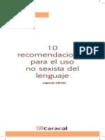 Recomendaciones Para El Lenguaje No Sexista