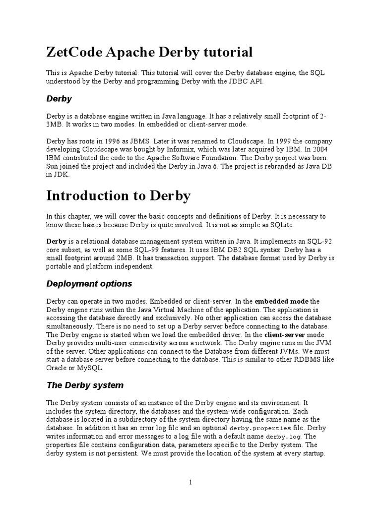 ZetCode Apache Derby Tutorial | Data Management | Computer Data