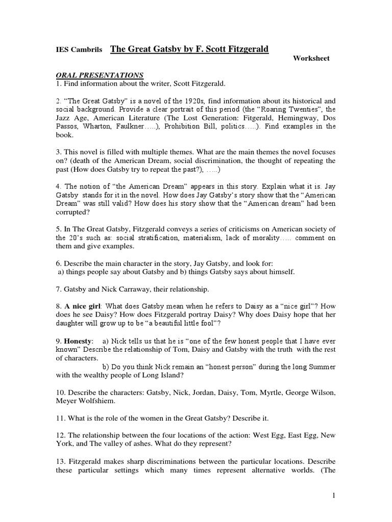 prohibition in the great gatsby essay Sample cause and effect essay - great gatsby essay tips: 5 ways to improve your essay scores sample classification essay - hamilton vs jefferson.