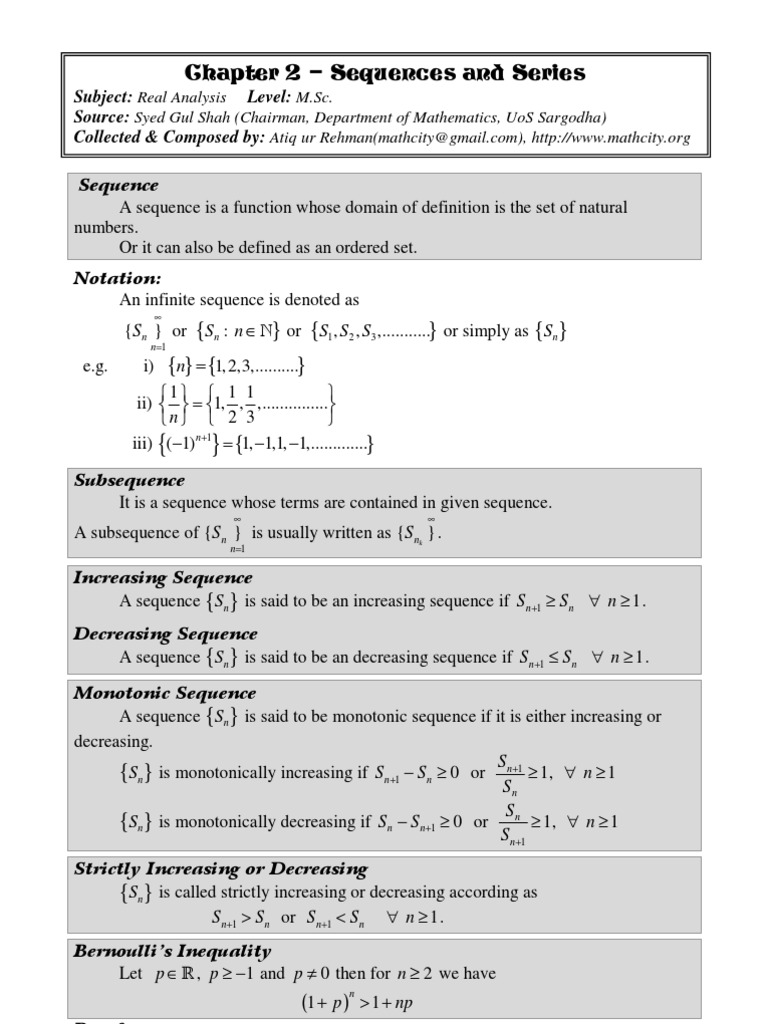 Chap 02 Real Analysis: Sequences and Series | Series (Mathematics