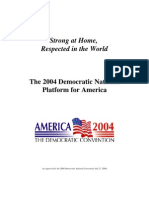 Democratic National Committee Release - The 2004 Democratic National Platform for MAmerica