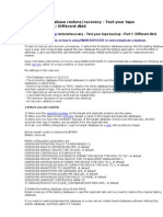 Oracle 10g database backup restore test