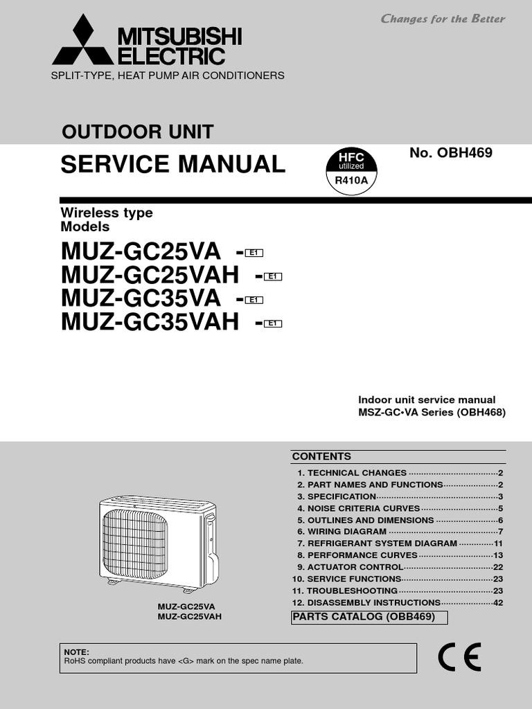 Mitsubishi Service Manual Air Conditioning Heat Pump Msz Wiring Diagram