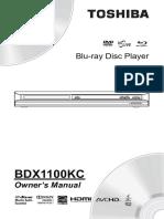 Toshiba BluRay Player BDX1100KC Manual