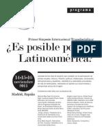 Programa Simposio Es Posible Pensar Latinoamerica