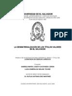 La Desmaterializacion de Los Titulos Valores en El Salvador