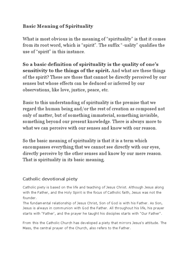 basic meaning of spirituality | catholic spirituality | hermit