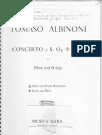 Tomaso Albinoni score Piano