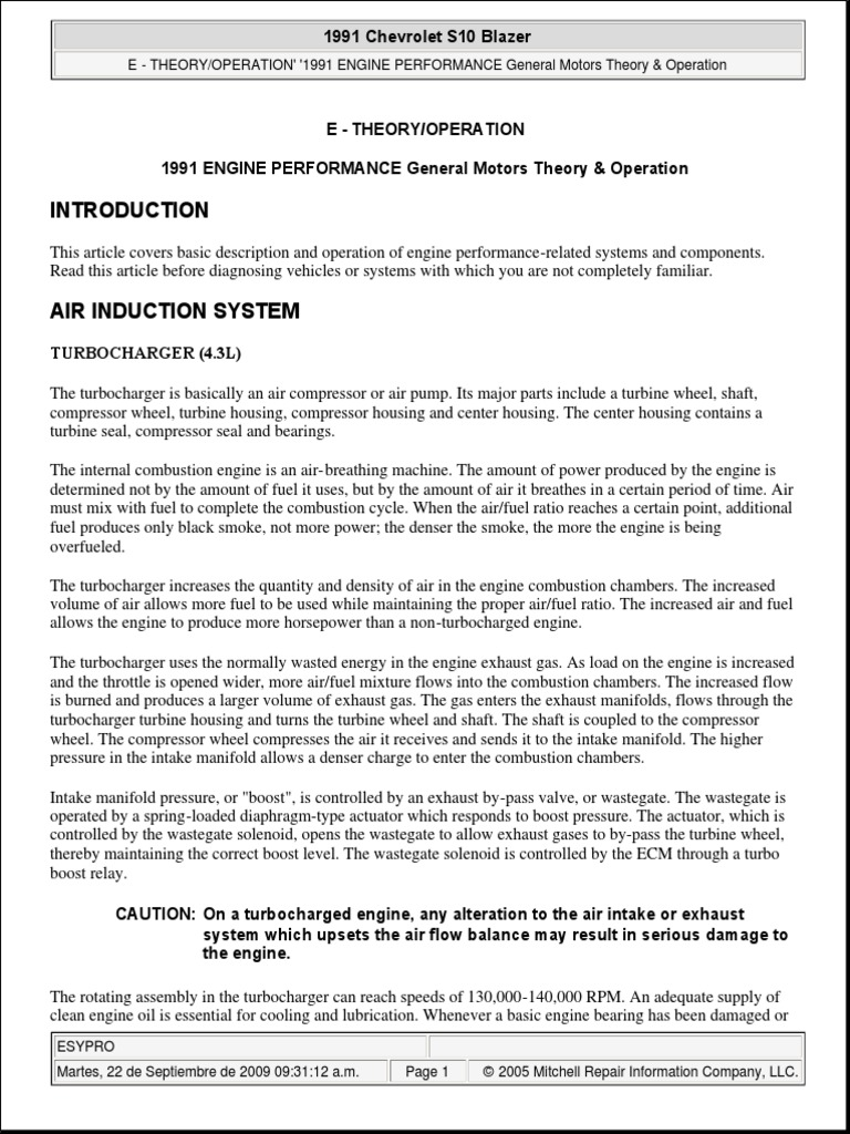 Chevrolet Blazer Engine Performance Theory Operation Fuel Opel Wiring Diagram Pdf Injection Throttle