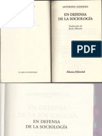 Anthony Giddens En Defensa de la Sociología