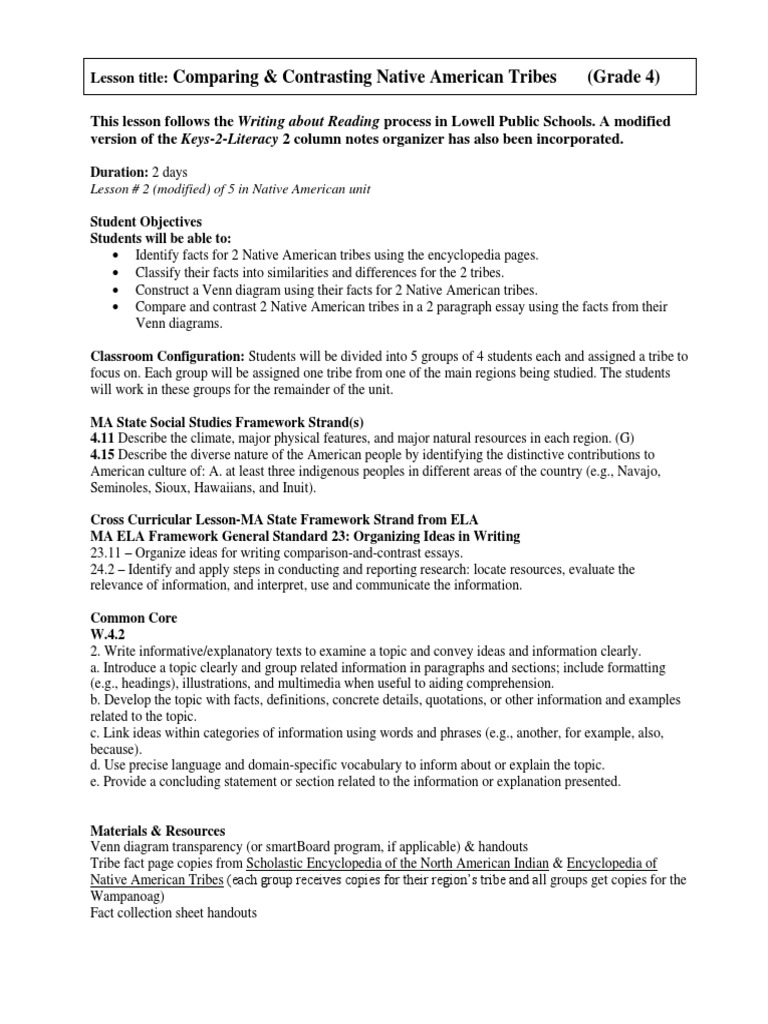 Native american tribes compare contrast lesson plan final grade 4 native american tribes compare contrast lesson plan final grade 4 native americans in the united states essays pooptronica