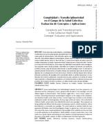 Almeida-Filho, Naomar, Complejidad y Transdisciplinariedad en el Campo de la Salud Colectiva, evaluación de conceptos y aplicaciones, SALUD COLECTIVA, Argentina, 2006