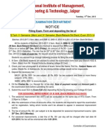 Exam Form Filling Notice of I Sem Main 2013-17 & III Sem Back Exam 2013-14