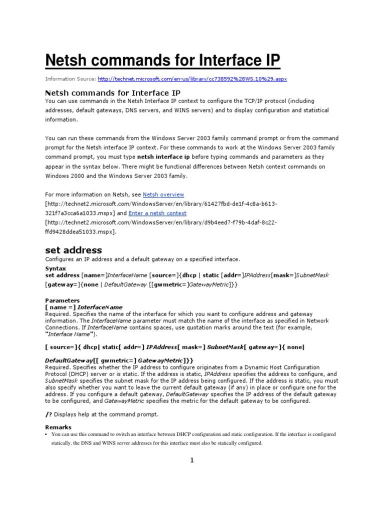 Netsh tutorial pdf
