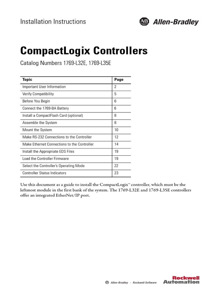 Compact Logix Controllers | Ip Address | Flash Memory