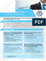 ISO 13485 Lead Implementer - Four Page Brochure