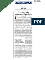 Transparencia ¿oportunidad perdida?