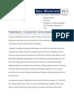 Assignment Summary Corporate Governance