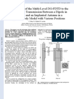 An Application of the Multi-Level DG-FDTD to the Analysis of the Transmission Between a Dipole in Free-Space and a Implanted Antenna in a Simplified Body Model With Various Positions