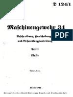 """""""D 124/1"""" Maschinengewehr 34. Teil 1. Waffe."""