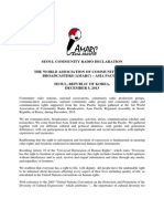 SEOUL COMMUNITY RADIO DECLARATION  THE WORLD ASSOCIATION OF COMMUNITY RADIO BROADCASTERS (AMARC) – ASIA PACIFIC,   SEOUL, REPUBLIC OF KOREA,  DECEMBER 5, 2013