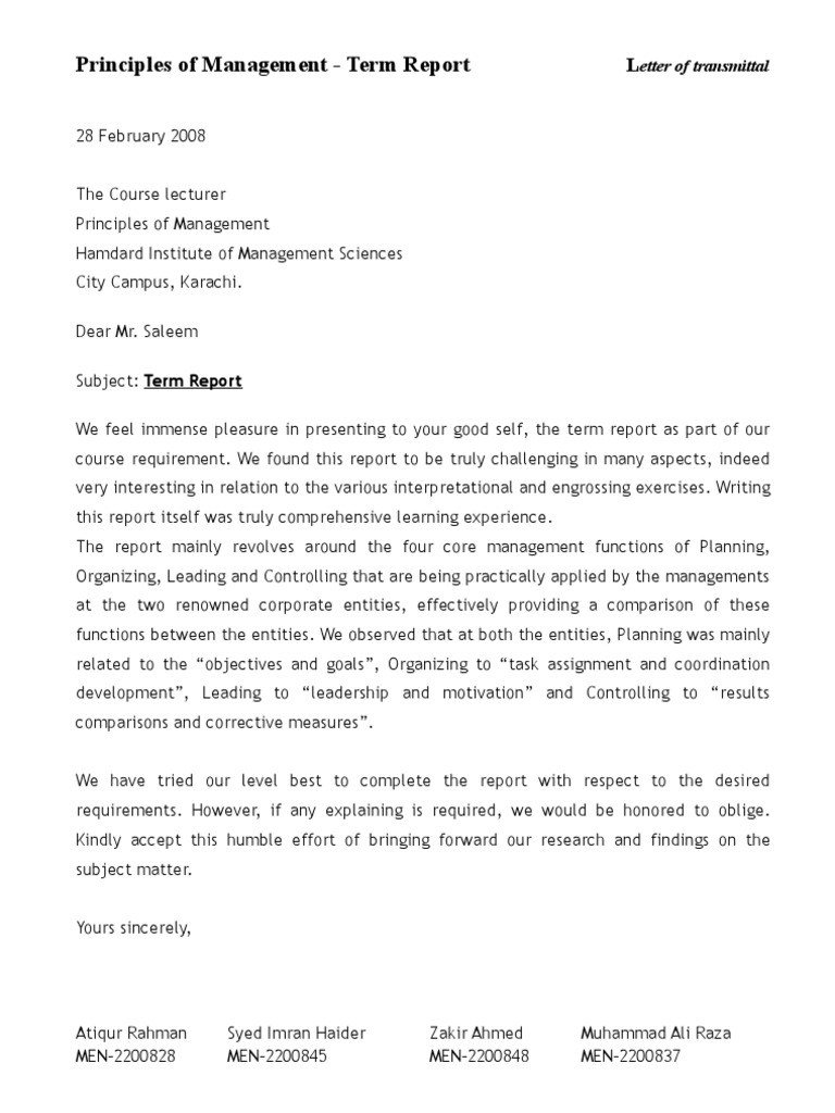 Letter Of Transmittal   Term Report  Letter Of Transmittal Sample
